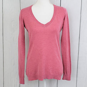 Banana Republic Pink Silk V-neck Pullover Small